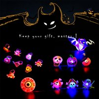Novelty Lighting Halloween Cartoon Ring Ghost Pumpkin Bat Design Finger Rings LED Light Glowing Flash Soft Gel Finger Light Kids Toys Gift
