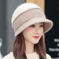Wide Brim Hats YQYXCY Winter For Women Thickened Fur Ear Protection Bucket Hat Beanie Female Korean Fashion Keep Warm Woman 2021 Cap