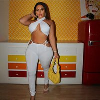 Women Bandage Criss Cross Tracksuits Solid Matching Set Backless Club Yoga Legging Sportswear Sports suit Mujer Jogging Fitness Suits Gym Sweatsuit