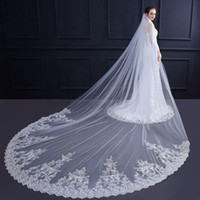 Bridal Veils 3.5 Meters Veil Wedding Ivory For Bride One Layer Lace Edge Cathedral Long Accessories With Comb