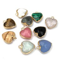 2pcs Natural Stone Hanger Section Heart-shaped Semi-precious Stones for Jewellery Make Diy Chain Bracelet Earrings Accessories