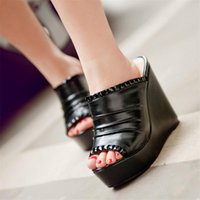 Evening Party Slippers Women Rivets Studs Wedges High Heel Gladiator Sandals Slip On Peep Toe Summer Platform Pumps Casual Shoes