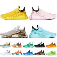 2021 Mode Pharrell Williams NMD Menselijk Race Running Schoenen Womens Sneakers Zwart Wit Groen Geel Roze Blauw Nerd Hu Trail Off Mens Trainers