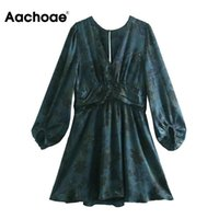 Casual Dresses Aachoae V Neck Floral Print Dress Lantern Long Sleeve Pleated Vintage Back Hollow Out Chic Mini Party Autumn Summer