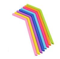 Palhas de silicone flexível de grau de alimento colorido Straight Bence Curvo Beber Beber Beber Reusável Bebidas CCF6361
