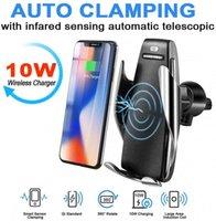 Chargeur de voiture sans fil 10W S5 Serrage automatique Porte-téléphone de chargement rapide Montage en voiture pour iPhone XR pour Huawei Smart Phone
