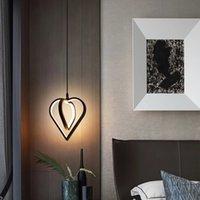 Bedroom Bedside LED Pendant Lamp Heart-Shaped Wedding Room Chandelier Lighting Lamps Bar Foyer Black Luminaire Suspension Hanging Lights R434