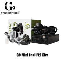 Otantik GreenlightVapes G9 Mini Müşteri V2 Kiti DIY DAB DABBER XLR Fiş 25mm Vape Kutusu Modu Kuvars Banger14mm Erkek Boru Cam Kapağı Konsantre Balmumu için 100% Orijinal