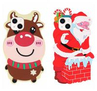 Xmas 3D Noel Baba Elk Yumuşak Silikon Kılıfları iphone 13 Pro Max 2021 12 Mini 11x XR XS 8 7 6 Artı Sevimli Güzel Merry Noel Hediyesi Geri Telefon Kapak ile Boyun Omuz Askısı