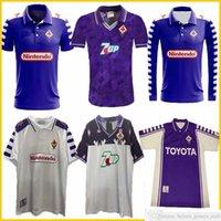 1998 1999 Retro Fiorentina 축구 유니폼 9 Batistuta 10 Rui Costa 사용자 정의 빈티지 98 99 홈 축구 셔츠 유니폼 2000 Camisas de Futebol 92 93