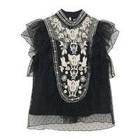 Kadın Bluzlar Gömlek Belki U Kadın Dantel Gömlek Bluz Standı Yaka Mesh Fırfır Yaz Zarif B0342