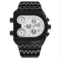 TEMEITE BRAND 49 мм Большой атмосферный циферблат дизайнеры мужские часы мода военный 3 часовой пояс календарь стальной ленты спортивные кварцевые движения человек наручные часы