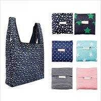 35.5*55*8CM Portable Shopping Bags Folding Handbag Fashion Printing Eco-Friendly Oxford Cloth Five-pointed Star Waterproof Tote Bag JJA119