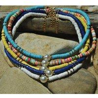 Богемные женские женские ювелирные изделия полимерное ожерелье из бусины 6 мм круглые плоские красочные мягкие ключицы цепи браслет