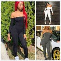 Сексуальные женщины комбинезон комбинезон новая мода черный с длинным рукавом боди на плечо Элегантная повседневная спортивная одежда jogging ночной клуб одежды d466
