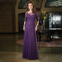 Half Long Sleeves Lace Mother of the Bride Dresses Scoop Neck Floor Length Appliques A Line Formal Evening Gowns