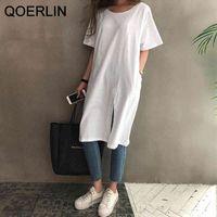 QOERLIN Cotton Linen T-Shirt Dress Women Korean Slipt A-Line Short Sleeve Loose Casual Mid Length Black White Shirts Dress Girls 210412