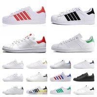Adidas Stan Smith Superstar حذاء نسائي كلاسيكي غير رسمي باللون الأبيض والأخضر الفاخر ذو نعل سميك أحذية رياضية للرجال والنساء مدربين مسطحين موضة الركض والمشي في الهواء الطلق   أحذية