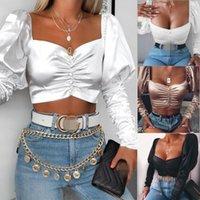 Französisch Stil Vintage Sexy Frauen Square Hals Hauch Langarm Satin Seidenknopf Hemd Damen Party Club Wear Bluse Crop Top Damen Blusen
