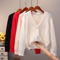 New Sweater Cardigan Women Autumn Winter V Neck Pearl Single Breasted Loose Short Thicken Sweater Sweet Long Sleeve Knitting Top