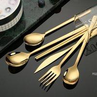 Newstainless Steel Dinnerware Forquilha Faca Spoons Sobremesa Coffe Colher Prata Rosa Rosa Preto Casa Cozinha Restaurante Cutelaria Ewe5560