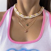 Pendant Necklaces Elegant Colorful Beaded Pearl Pink Crystal Green Drip Glaze Heart Necklace For Women Girl Metal Charm Layered