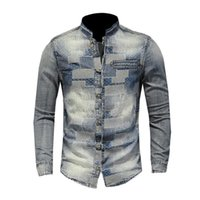 Men's Casual Shirts shirt denim vintage cotton long cowboy tops fashion wash fine fit clothes 2OIC