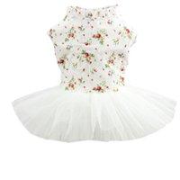 Köpek Giyim İlkbahar Yaz Çiçek Baskı Dantel Elbise Pet Giysileri Parti Doğum Günü Düğün Kedi Kostüm Küçük Orta