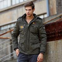 Männer Winter Casual Military Taktische Jacke Mode Mit Kapuze Fleece Parka Herren Dicke Warme Baumwolle Gepolsterte Frachtflug Outwear 201120