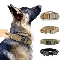 Dog Collars & Leashes Durable Military Tactical German Shepard Collar Adjustable Nylon For Medium Large Training Hunting Control Handle