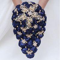 Fiori di nozze Eilillyrosia blu navy bouquet blu per sposa sattin monili rosa spilla cascata seta artificiale
