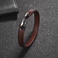 Ошименные мужчины панк цвета модные ювелирные изделия натуральные кожаные браслеты запястья для браслета 200 мм размером