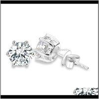 Jewelry925 Sier Classic Six 0Dot5 Carat 1Ct Round Brilliant Cut Moissanites Diamond Stud Earrings For Women Jewelry Drop Delivery 2021 Kurx4
