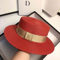 2021 Summer new ribbon m flat top fashion French simple British straw hat sunscreen M2W9
