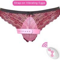 Remote Control Strapon Panty Vibrator Giocattoli del sesso per donna Stimolatore Erotico Erotico Wireless Adulti Bullet Vibratori per le donne