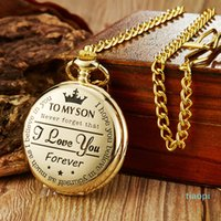 To My Son Pocket Watch Flip Case Fob Chain Clock For Children's Day Kids Boy's Birthday Best Gifts The Greatest DAD I LOVE YOU