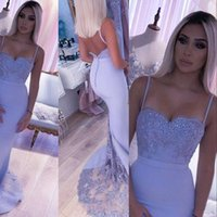 2021 African Lavender Bridesmaids Dresses Spaghetti Straps Mermaid Elastic Satin Lace Appliques Crystal Beads Open Back Formal Maid Of Honors Wedding Guest Gowns