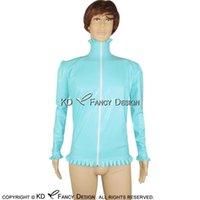 Lago azul sexy blusa de látex con botones de lujo en la parte frontal de manga larga de soporte collar de espalda alta camisa de goma superior YF-0041 Blusas de mujer Shir