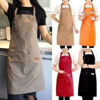 Clothing & Wardrobe Storage Chef's Waterproof Antifouling Apron With Two Pockets Solid Color Kitchen Cooking Barbecue Apron, Adjustable Size