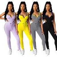 Women's Tracksuits Sexy Two Piece Summer Vest Bodysuit And Pants Set Women & Club Pullover Above Knee, Mini Elastic Waist Full Length V-neck