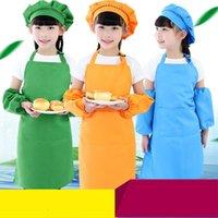 10 Colores niños niños delantal de bolsillo cocina cocinar hornear pintura arte babero niño llano delantales comedor limpieza protección zwl755