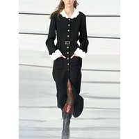 Casual Dresses Women Dress High Quality Autumn Winter Runway Turn-down Collar Long Sleeves Patchwork Trench NP1259A
