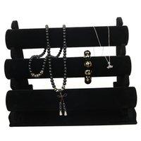 عرض المجوهرات الأسود 3 طبقات المخملية سوار ساعة عرض مجوهرات حامل حامل انفصال مجوهرات حامل 1821 Q2