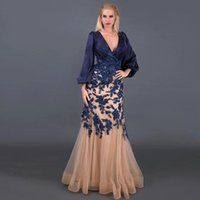 Graceful Navy Blue Mermaid Mother's Dresses V Neck Puffy Long Sleeve Wedding Guest Gown Floral Lace Appliques Vestidos De Fiesta