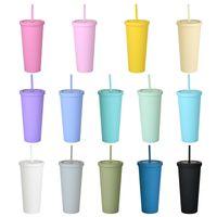 22oz Sıska Tumblers Su Şişeleri Mat Renkli Akrilik Tumbler Kapakları ve Payetli Çift Duvar Plastik Resuarable Cuptumblers WLL838