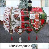 Tücher Textilien Home Gämmchristmas Cartoon Elch Tischläufer Dekoration Santa Claus Knit Esst Schreibtisch Tuch Quasten Weihnachtsbaum Familie Party