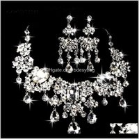Jewelryclassic Bridal Sets Luxury Crystals Bride Wedding Necklace Earrings Set Party Prom Formal Oasion Jewelry Jewellery Drop Delivery 2021