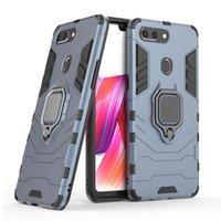 Per OPPO R15 Dream Mirror R17 Pro R9 R9S Plus Case Auto Mount Magnetic Attrazione Attrazione Metal Finger Ring Holder TPU PC Custodia per cellulare