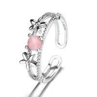Cluster Rings Sweet Flower Ring For Women Adjustable Pink Opal Stone Female Korea Jewelry 2021