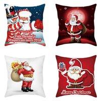 Pillow Cover Cartoon Cute Santa Claus Cotton Linen Cushion Case Merry Christmas Throw Flax Pillowcase Sofa Couch Chair Gift